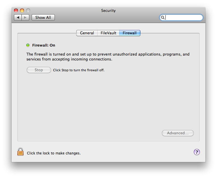 Screenshot of System Preferences' Security section, Firewall tab